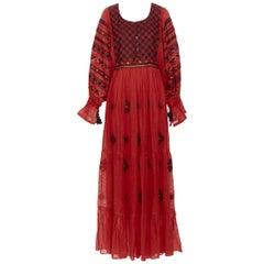 new VITA KIN red Vyshyvanka embroidery bohemian folk bubble sleeve maxi dress S