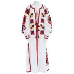 new VITA KIN white linen boho aztec embroidery tassel maxi kaftan dress M