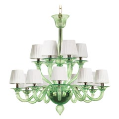 21st Century artistic Chandelier 9+6arms Green Murano Glass by Multiforme