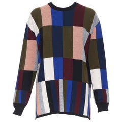 new VVB VICTORIA BECKHAM 100% wool graphic colorblocked oversized sweater UK8