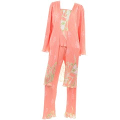 New w Tag Bill Tice Peach Vintage 3 Pc Pants, Tank & Robe Pajama Loungewear