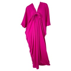 New w/ Tags 1970s Lucie Ann of Beverly Hills Hot Pink Cerise Vintage 70s Caftan