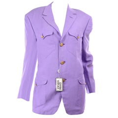 New W/ Tags 1993 Gianni Versace Mens Purple Linen & Silk Blazer Runway Jacket