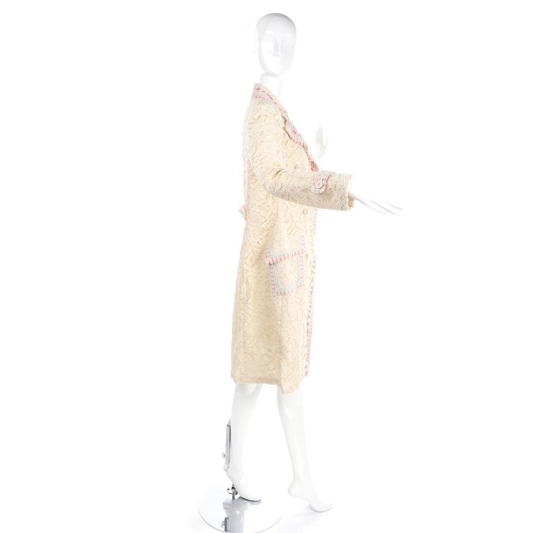 Beige New w Tags Bill Blass Vintage Lace Coat w/ Pink & Blue Ribbon Saks Fifth Avenue For Sale