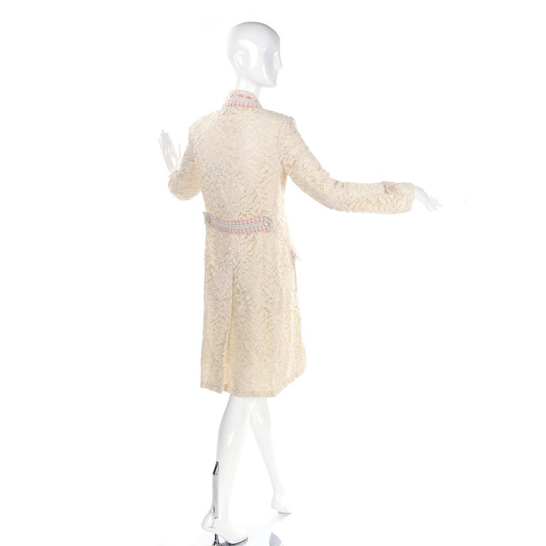 New w Tags Bill Blass Vintage Lace Coat w/ Pink & Blue Ribbon Saks Fifth Avenue In New Condition For Sale In Portland, OR