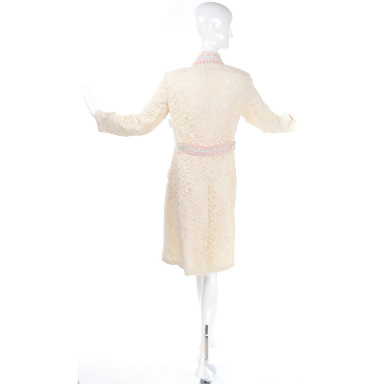 Women's New w Tags Bill Blass Vintage Lace Coat w/ Pink & Blue Ribbon Saks Fifth Avenue For Sale