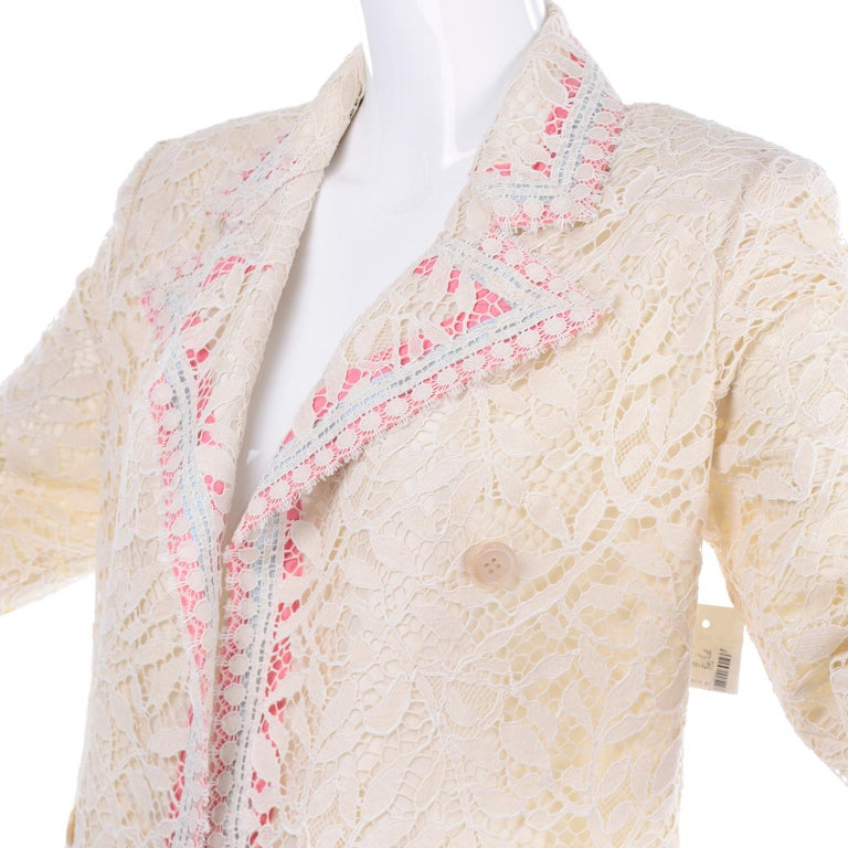 New w Tags Bill Blass Vintage Lace Coat w/ Pink & Blue Ribbon Saks Fifth Avenue For Sale 1