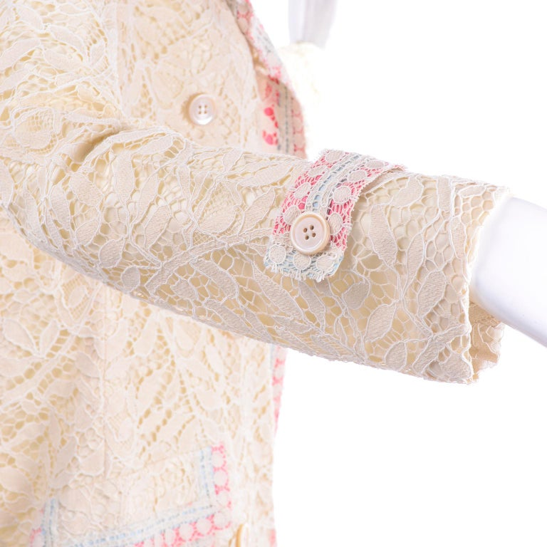 New w Tags Bill Blass Vintage Lace Coat w/ Pink & Blue Ribbon Saks Fifth Avenue For Sale 2