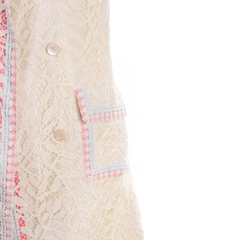 New w Tags Bill Blass Vintage Lace Coat w/ Pink & Blue Ribbon Saks Fifth Avenue For Sale 3