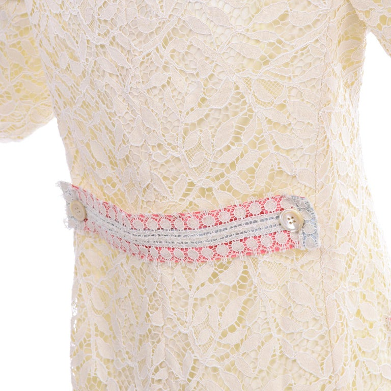 New w Tags Bill Blass Vintage Lace Coat w/ Pink & Blue Ribbon Saks Fifth Avenue For Sale 4