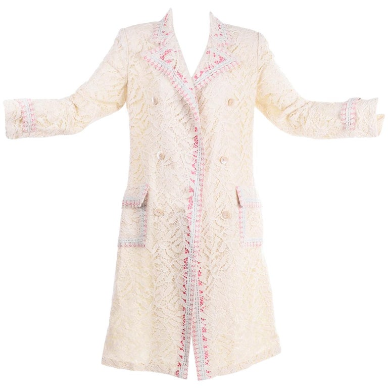 New w Tags Bill Blass Vintage Lace Coat w/ Pink & Blue Ribbon Saks Fifth Avenue For Sale