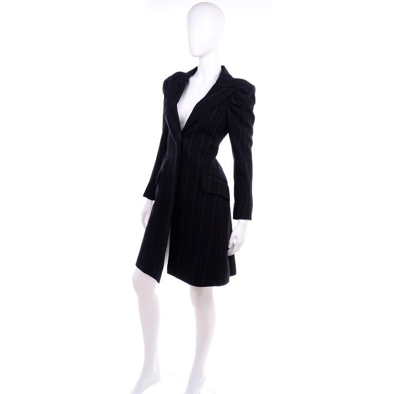 Black New w/ Tags Marc Jacobs for Louis Vuitton 2010 Pinstripe Coat W Gathered Sleeves For Sale
