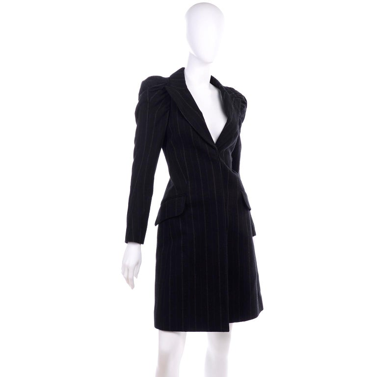 Women's New w/ Tags Marc Jacobs for Louis Vuitton 2010 Pinstripe Coat W Gathered Sleeves For Sale