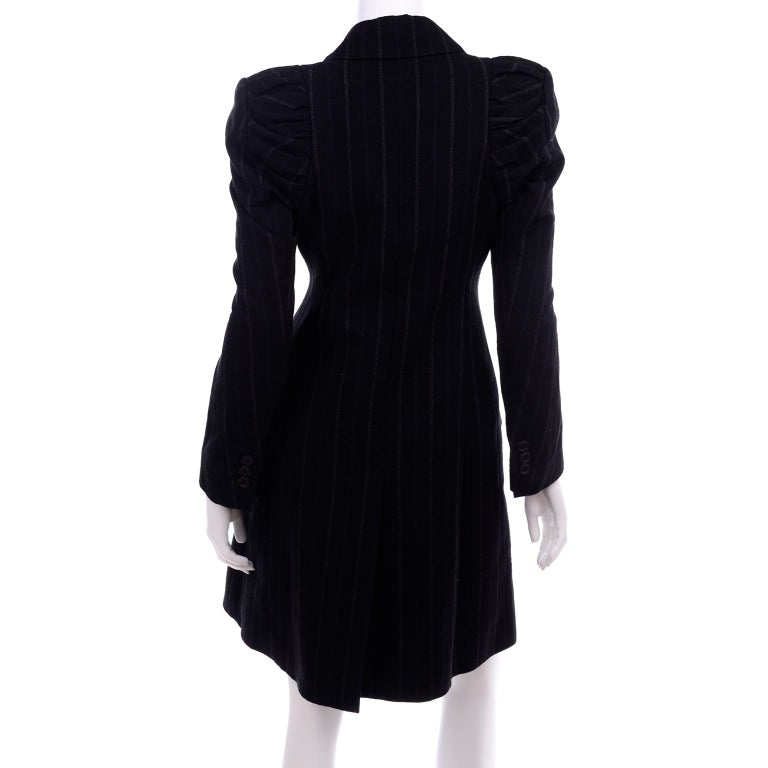 New w/ Tags Marc Jacobs for Louis Vuitton 2010 Pinstripe Coat W Gathered Sleeves For Sale 3
