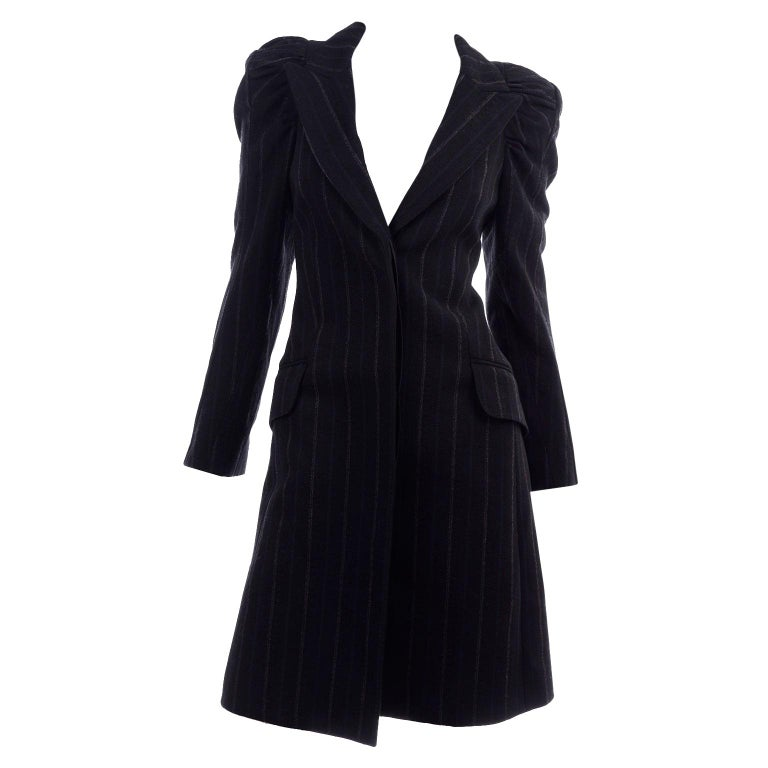 New w/ Tags Marc Jacobs for Louis Vuitton 2010 Pinstripe Coat W Gathered Sleeves For Sale