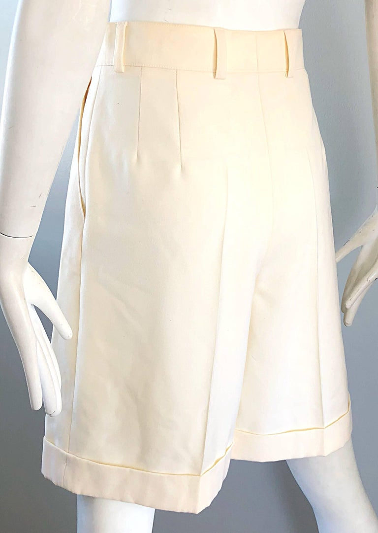 New w/ Tags Vintage Escada 1980s Ivory Wool Vintage Wide Leg Culottes 80s Shorts For Sale 6