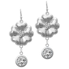 New White Sapphire Blossom Circle Strong Dangles