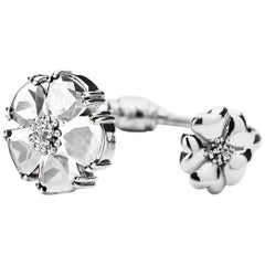 New White Sapphire Blossom Large Mixed-Media Hinge Bracelet