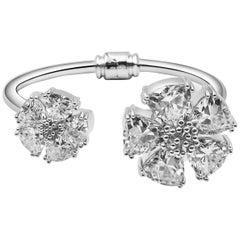 New White Sapphire Blossom Large Mixed Stone Hinge Bracelet