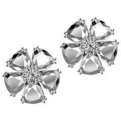 New White Sapphire Blossom Large Stone Stud Earrings