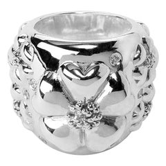 New White Sapphire Blossom Pave Statement Dome Ring