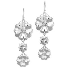 New White Sapphire Double Blossom Circle Strong Dangles