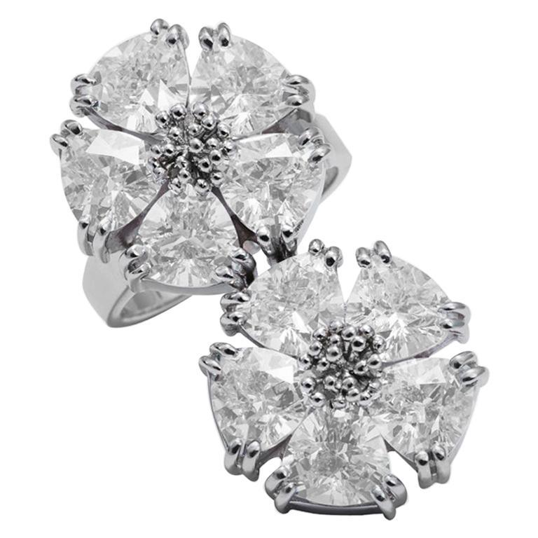White Topaz Double Blossom Stone Ring