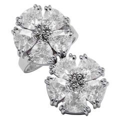 White Sapphire Double Blossom Stone Ring