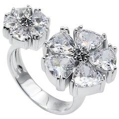 White Topaz Mixed Blossom Stone Open Ring