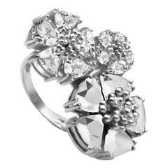 White Topaz Trifecta Blossom Stone Ring