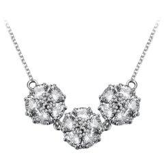 White Sapphire Triple Blossom Gentile Necklace