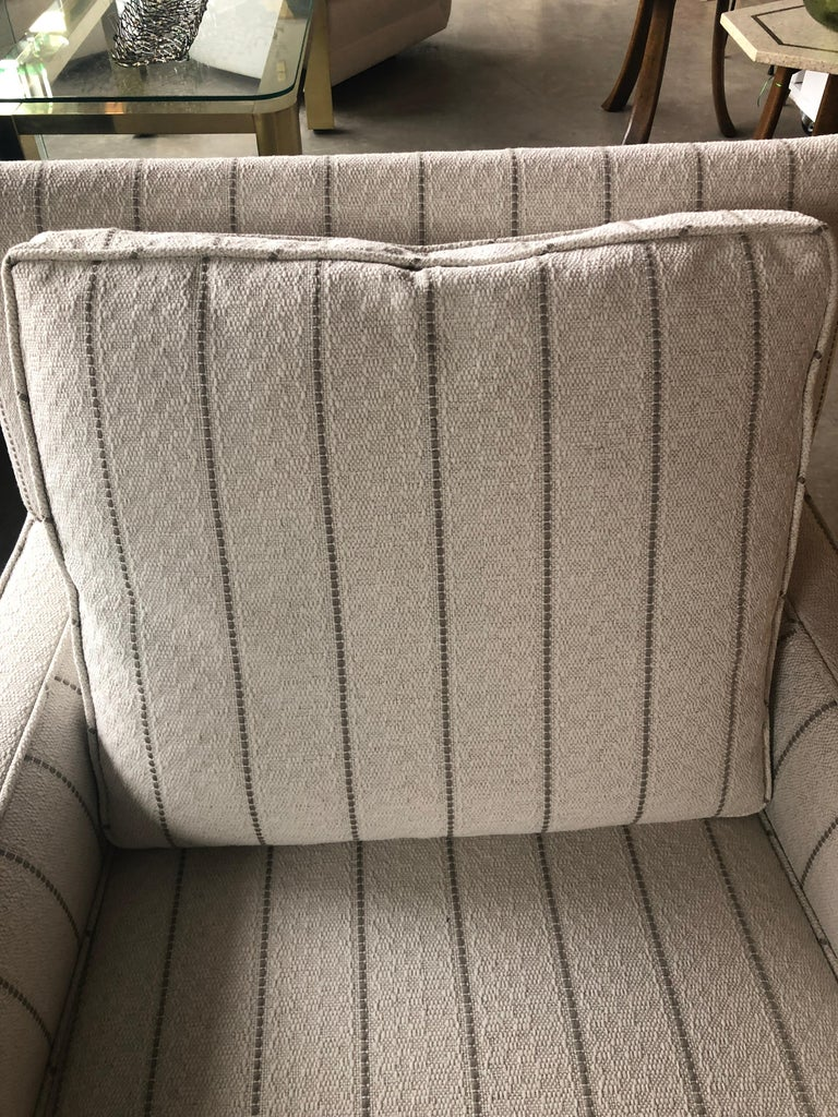 New White with Gray Stripe Upholstery Paul McCobb Arm or Lounge Chair with Stool For Sale 8