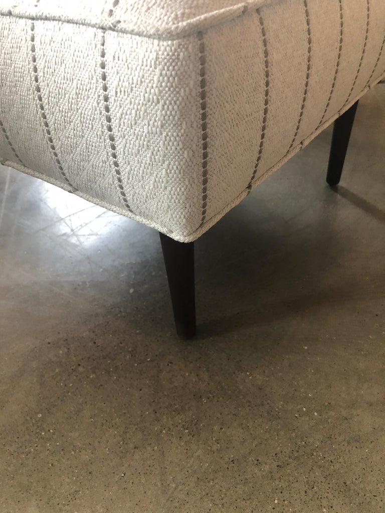 New White with Gray Stripe Upholstery Paul McCobb Arm or Lounge Chair with Stool For Sale 10