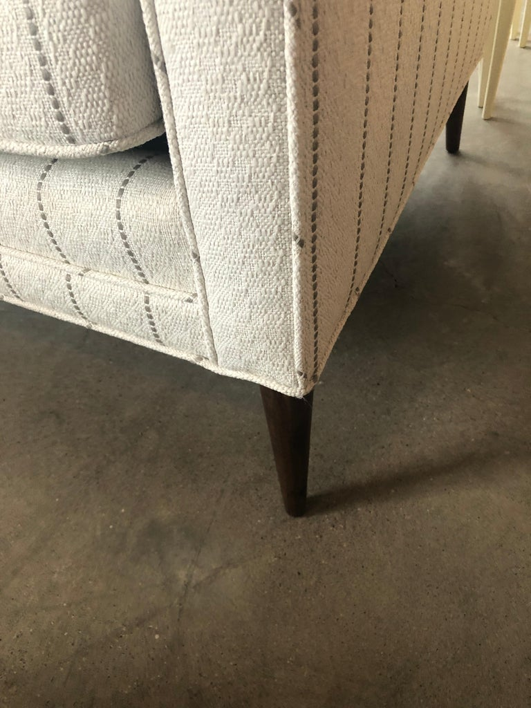 New White with Gray Stripe Upholstery Paul McCobb Arm or Lounge Chair with Stool For Sale 11