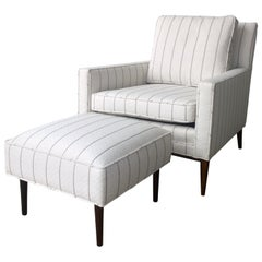 New White with Gray Stripe Upholstery Paul McCobb Arm / Lounge Chair with Stool