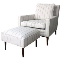 New White with Gray Stripe Upholstery Paul McCobb Arm or Lounge Chair with Stool