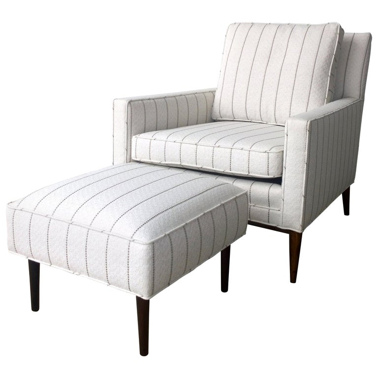 New White with Gray Stripe Upholstery Paul McCobb Arm or Lounge Chair with Stool For Sale