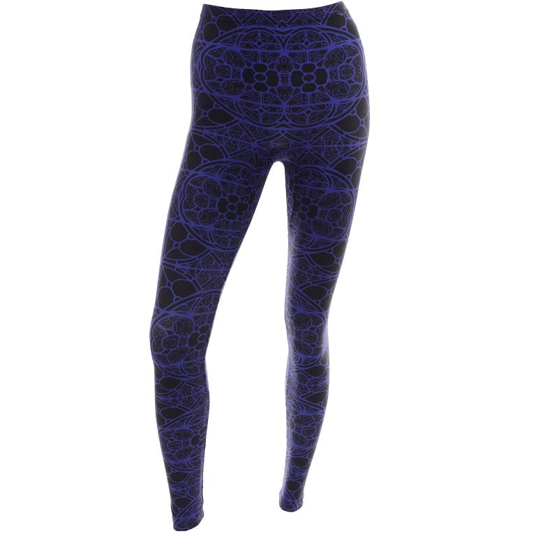 New With Tags Alexander McQueen Blue & Black Abstract Print Leggings For Sale 4