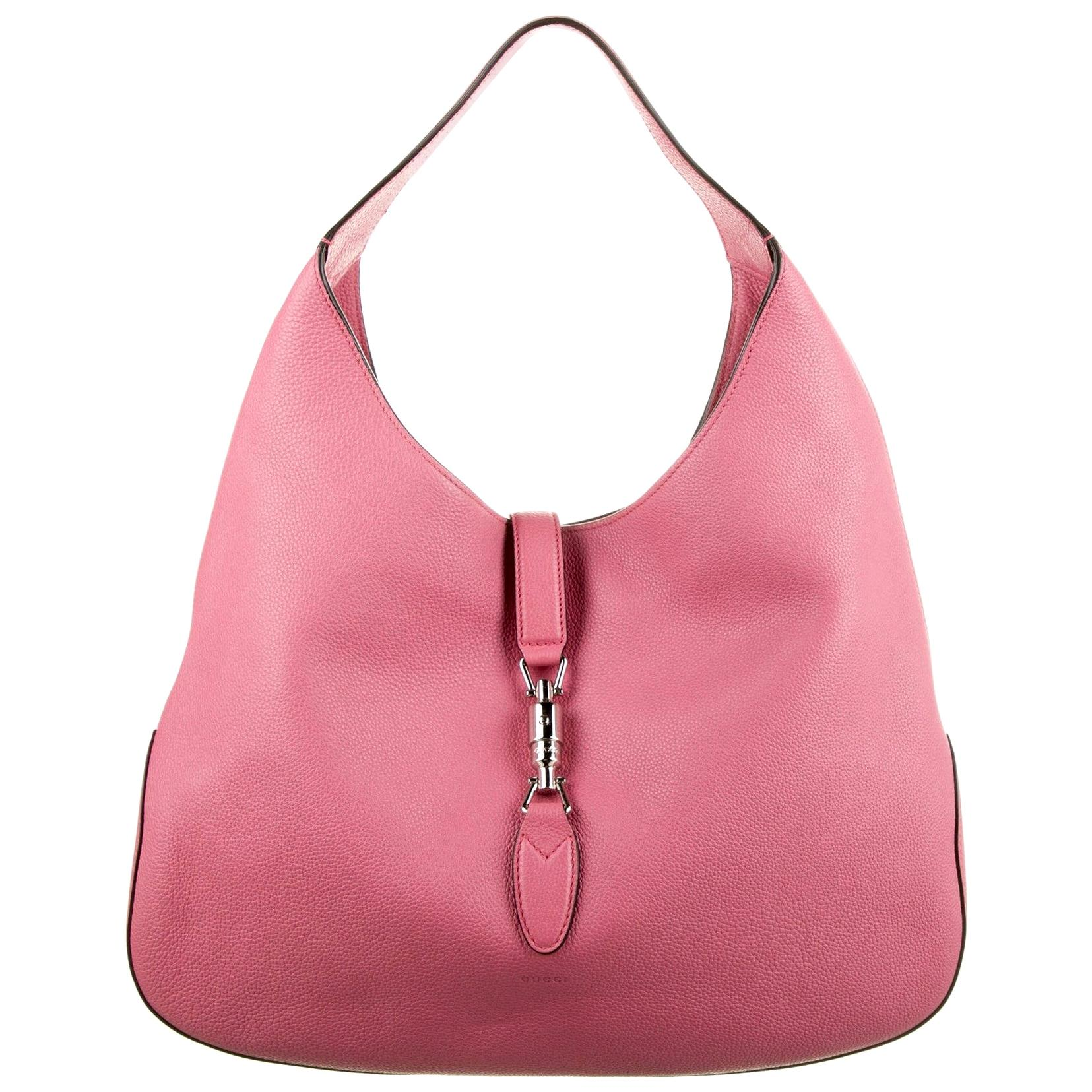 New With Tags Gucci Extra Large Pink Leather Jackie O Runway Bag $3595 Fall 2014