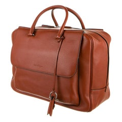 New With Tags Salvatore Ferragamo Soft Napa Leather Weekender Bag $2800