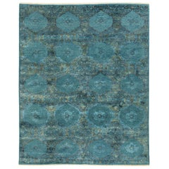 Wool and Silk Hand Knotted Kasmo Blue Area Rug