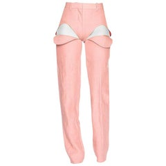 NEW Y/Project's Runway Front Cut Tailored Pants Trousers in Pink size Small