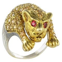 New Yellow Sapphire Silver Panther Ring