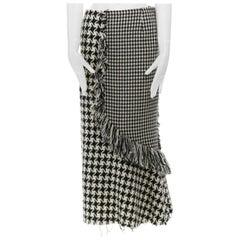 new YOHJI YAMAMOTO AW03 runway houndstooth knit fringe trimmed midi skirt JP1