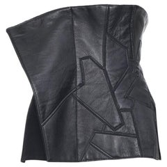 new YOHJI YAMAMOTO AW18 Runway black leather patchwork corset bustier belt JP1 S