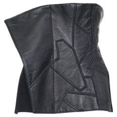 new YOHJI YAMAMOTO AW18 Runway black leather patchwork corset bustier belt JP2 M