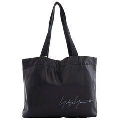 new YOHJI YAMAMOTO black leather white signature woven strap shoulder tote bag