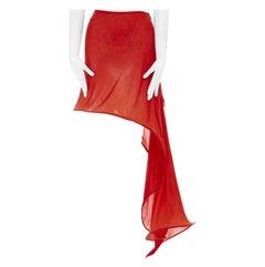 "new YOHJI YAMAMOTO red cotton crinoline wired asymmetric draped skirt JP1 S 22"""