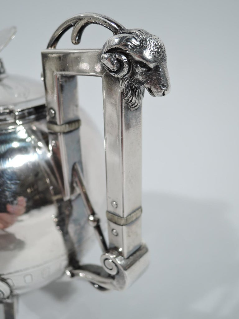 Sterling Silver New York Aesthetic Tea Set by John Wendt for Ball, Black For Sale
