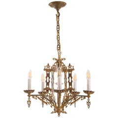Original Typical New York Art Deco Metal Chandelier, 1925